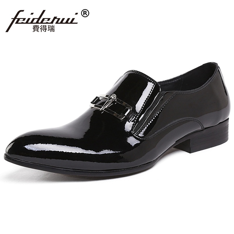 New Arrival Luxury Man Bridal Dress Shoes Patent Leather Italian Wedding Oxfords Pointed Toe Basic Men's Business Flats BH21 gadeeraroo new fashion lace up pointed toe medium genuine patent leather business formal casual oxfords shoes for man
