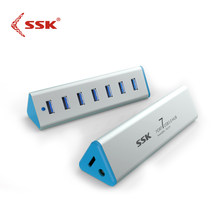 SSK SHU370 USB 3.0 Hub 7 Port USB Hub met Micro USB 3.0 TypeB Power Interface voor Telefoon USB Computer kaartlezer Pendrive(China)