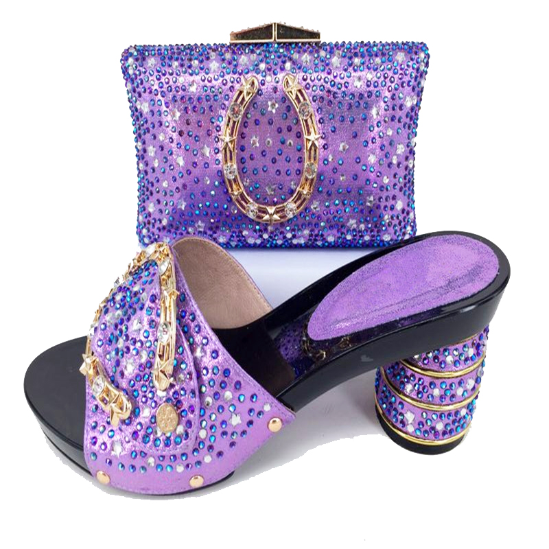 Elegant hand made lilac color stones slippers women shoes and clutches bag  for african aso ebi party wedding shoes bag SB8158 2-in Women s Pumps from  Shoes ... e64f59b1be17