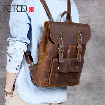 AETOO Head Cowhide College Wind shoulder backpack men and women retro leather Casual bag aetoo original shoulder bag leather retro backpack business computer bag head layer leather travel male bag college wind