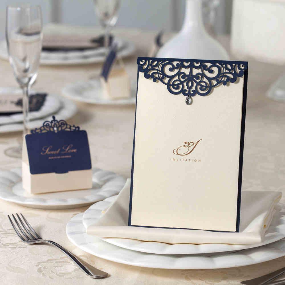 Navy Blue Laser Cut Wedding Invitations Cards with Rhinestone ...