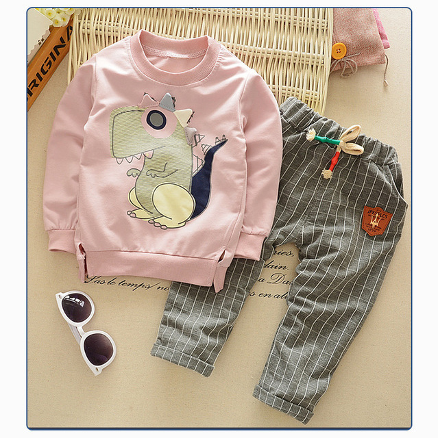 Autumn Winter Children's Cute Baby Clothing Set Boys Girls Suit Kids Clothes Cartoon Dinosaur Long Sleeve Sweatshirts +pants Set