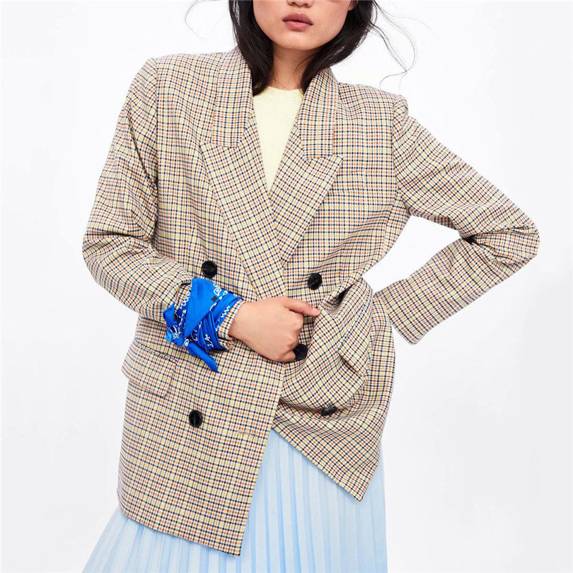 Women Style Plaid Blazer Pockets Long Sleeve Double Breasted Female Stylish Coats Office Wear Outerwear Chic Tops