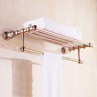 High Quality European Style Solid Brass Luxury Rose Gold Crystal Bath Towel Holder Bathroom Towel Rack Bathroom Accessories