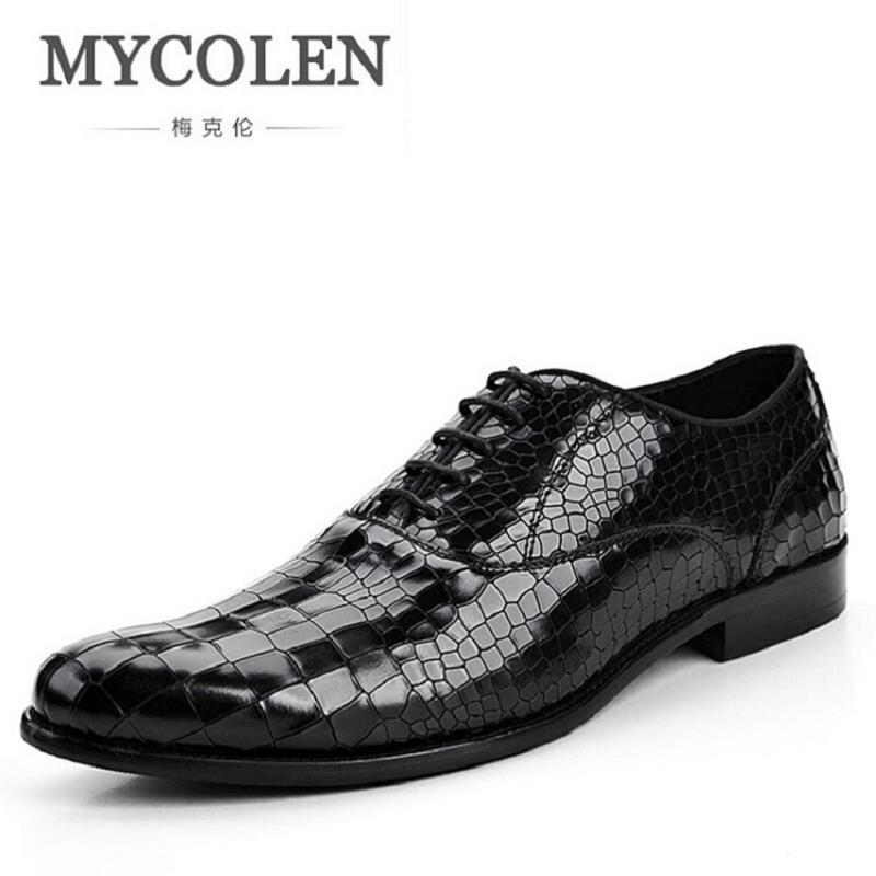MYCOLEN Causal Shoes Men Genuine Leather Business Dress Shoes Gentle Mens Formal Shoes High Quality Flats For Man zapatos hot sale mens italian style flat shoes genuine leather handmade men casual flats top quality oxford shoes men leather shoes