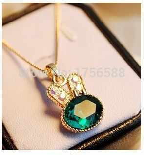 N004 2019 fashion green sea rabbit control over drilling cute bunny crystal clavicle pendant necklaces jewelery