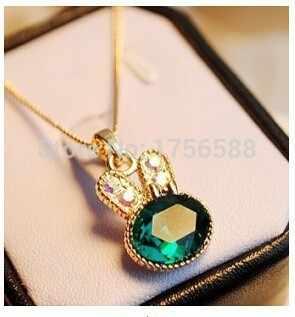 אופנה שרשרת ירוק ים ארנב קריסטל שרשרת אהבת כנפי עצם הבריח תליון שרשראות נקבה תכשיטי מתנה