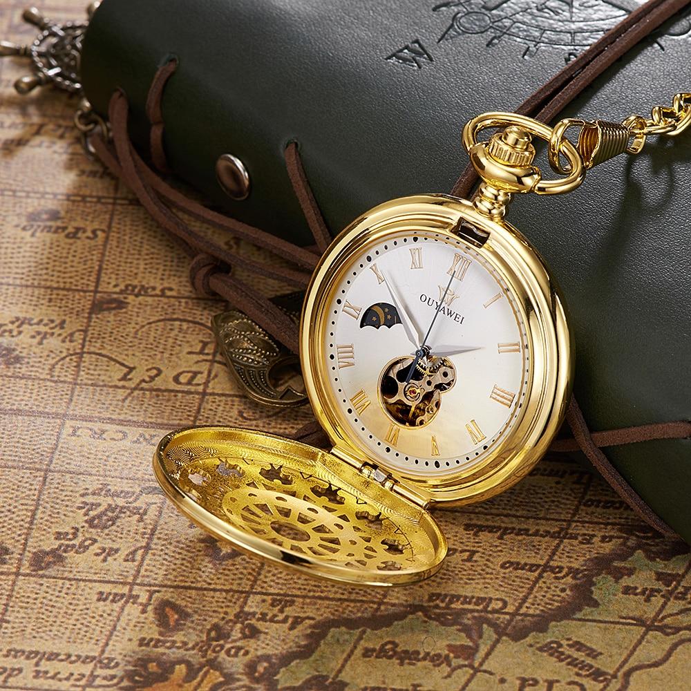 Relogio Masculino Luxury Brand OUYAWEI Mechanical Hand Wind Pocket Fob Watch Hombre Pocket Watch Men Steampunk Style Steel Case