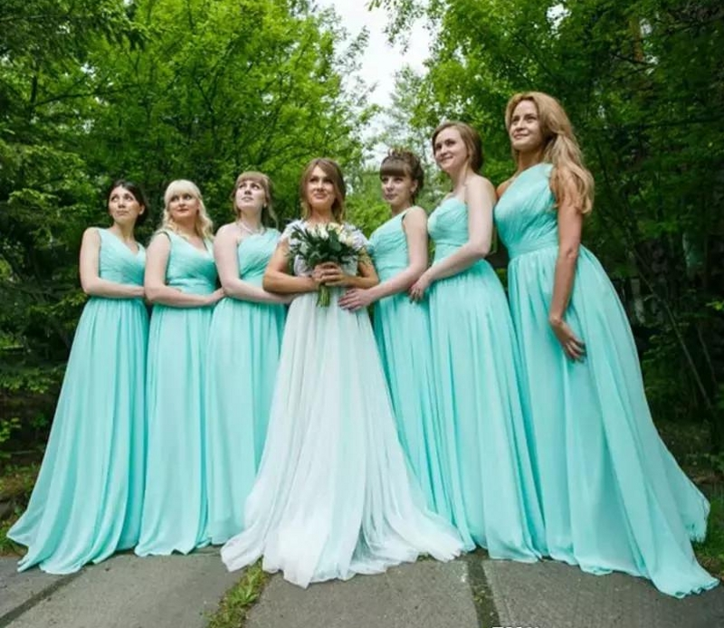 Pleated Chiffon Country   Bridesmaid     Dresses   Mint Green 2018 Long Wedding Party   Dress   Formal Prom Gowns Vestido De Festa