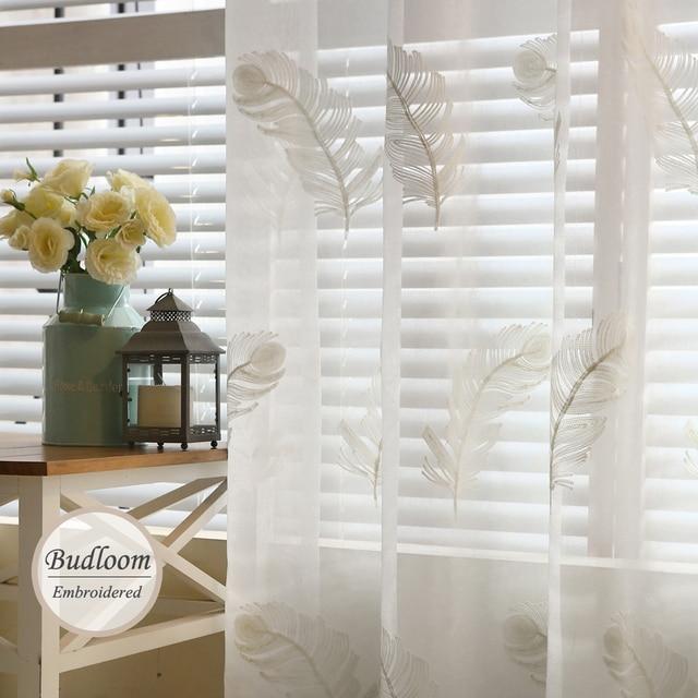 Moda moderna bordado tulle Cortinas para dormitorio blanco azul ...