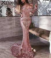 Xnxee Bodycon Maxi Dress Sequined Vsetidos V Neck Off Shoulder Backless Floor Length Evening Party Women Dresses Clothing
