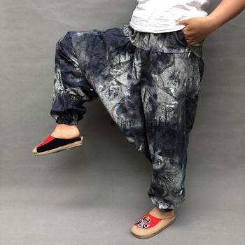 Plus rozmiar bawełna pościel Harem spodnie damskie workowate spodnie japoński styl kobiet krocza spodnie szerokie nogawki luźne spodnie na co dzień