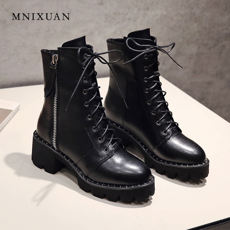 MNIXUAN Handmade women shoes ankle boots 2018 winter new genuine leather round toe platform block high