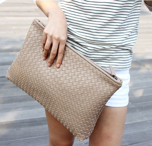 Kpop Fashion knitting women's clutch bag PU leather women envelope ...
