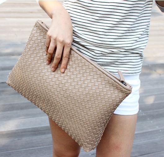 Kpop Fashion knitting women's clutch bag PU leather women envelope bags clutch evening bag Clutches Handbags black free shipping