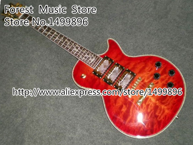 Cheap Chinese Red Quilted Three Pickups LP Custom Electric Guitars The Tree Of Life Inlay Guitarra Lefty Available