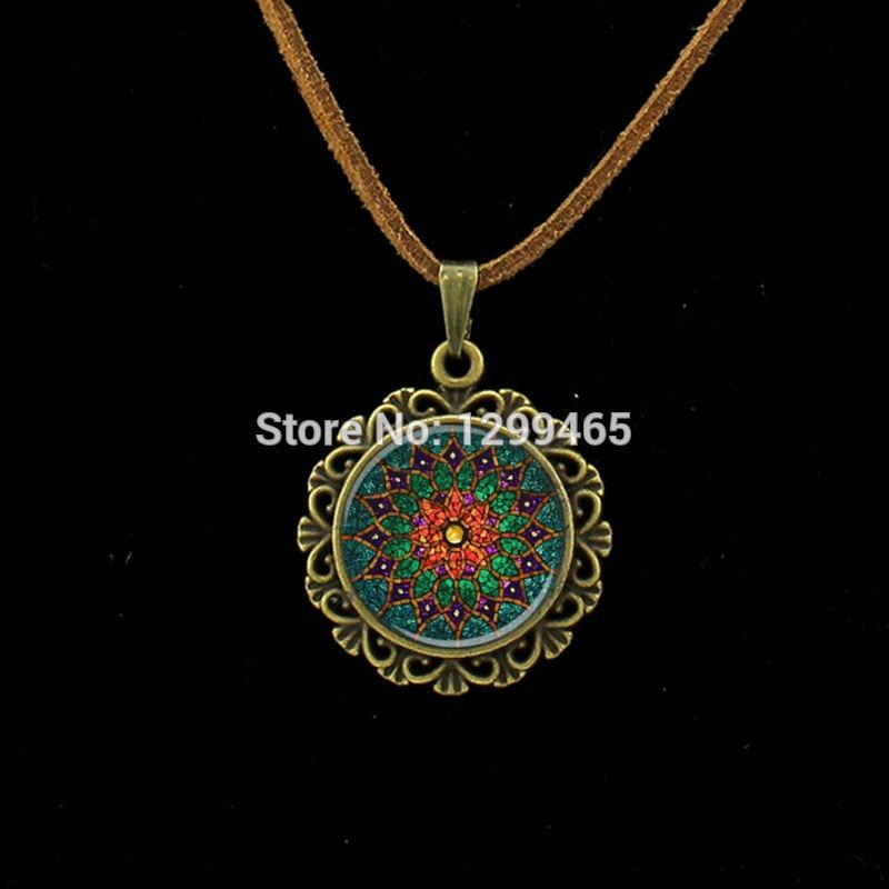 Persevering Retro Om Leather Necklace Mandala Flower Pendant India Choker Statement Necklaces Chakra Zen Yoga Friendship Jewelry L 214