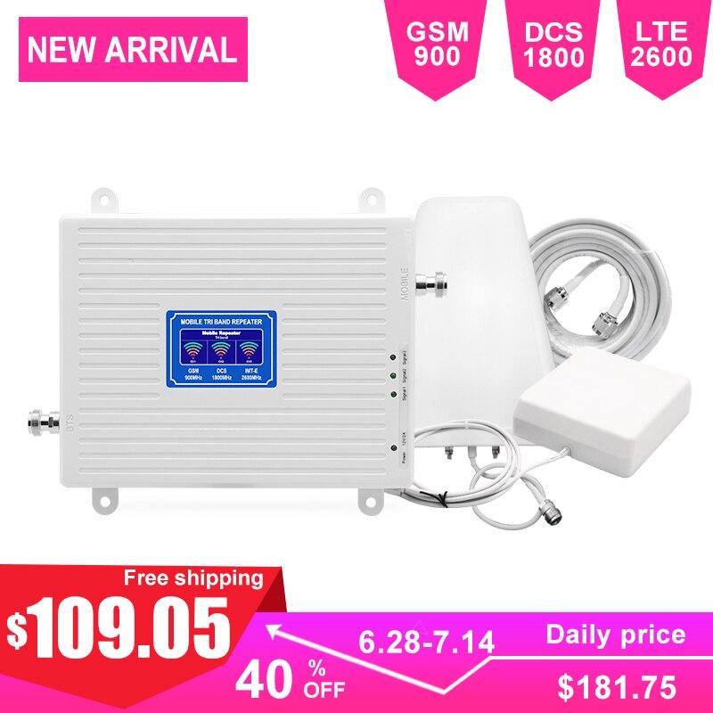 2G 4G LTE amplificateur de Signal cellulaire LTE Kit amplificateur de Communication Triband GSM DCS réseau 70dB Gain LCD affichage LDPA antenne-