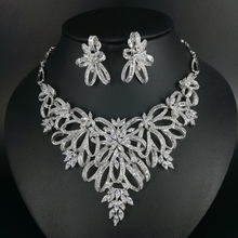 2017 new fashion luxury flowers crystal zircon necklace earring ring wedding bride banquet dinner jewelry set free shipping
