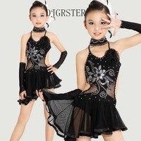 Child Latin Dance Dresses For Sequin Style Cha Cha Rumba Samba Ballroom Tango Dance Clothing Kids