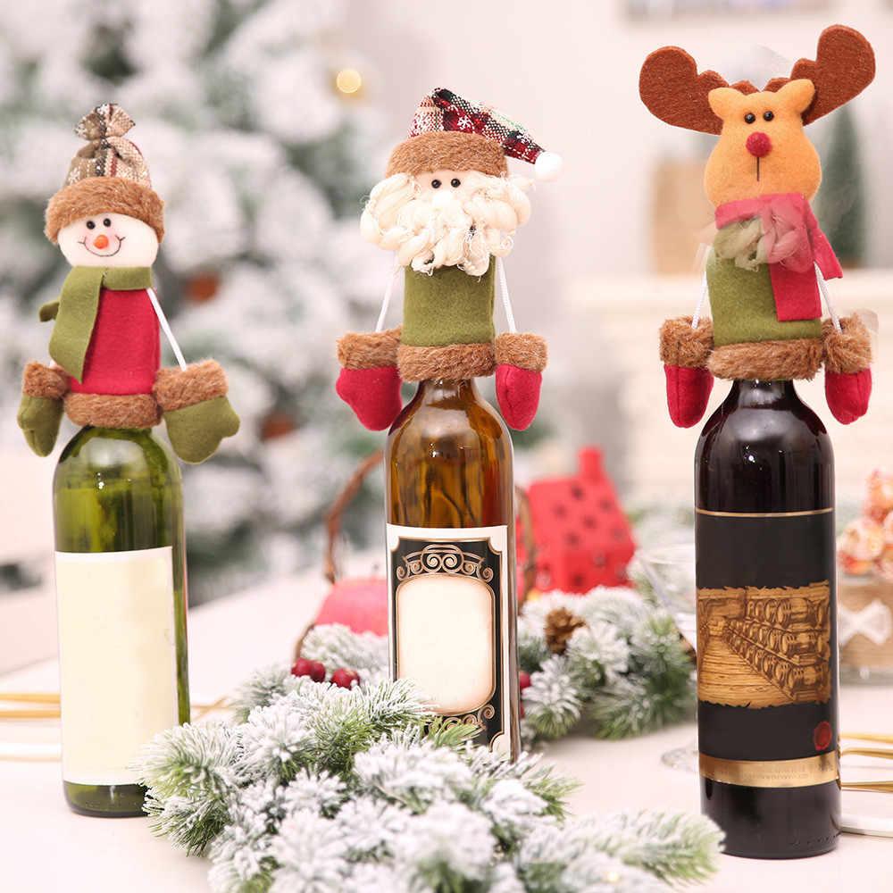 25 # יפה חג המולד יין בקבוק כיסוי חדש מתנה לשנה תיק מחזיק שולחן תפאורה חג המולד קישוט לבית המפלגה ארוחת ערב