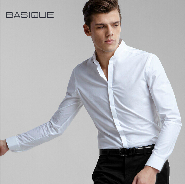 The latest small white collar style men long sleeve shirt for Small collar dress shirt