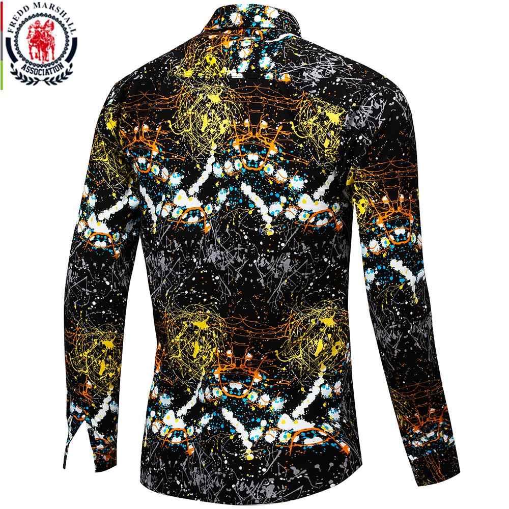 Fredd Marshall Nuevo 2018 ropa de marca para hombre Camisa ajustada de Hip Hop de manga larga para hombre camisa hawaiana con estampado en 3D Casual streetwear 31