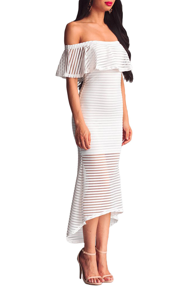 Ladies Women Elegant Sexy Off Shoulder Dress Black White Sheer Mesh Striped  Overlay Slinky Party Dresses Vestiti Donna-in Dresses from Women s Clothing  on ... 2d755f0b56b6