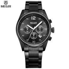 MEGIR Original Chronograph Men Watches Stainless Steel Luminous Fashion Military Quartz Watch with Calendar Relogio Masculino