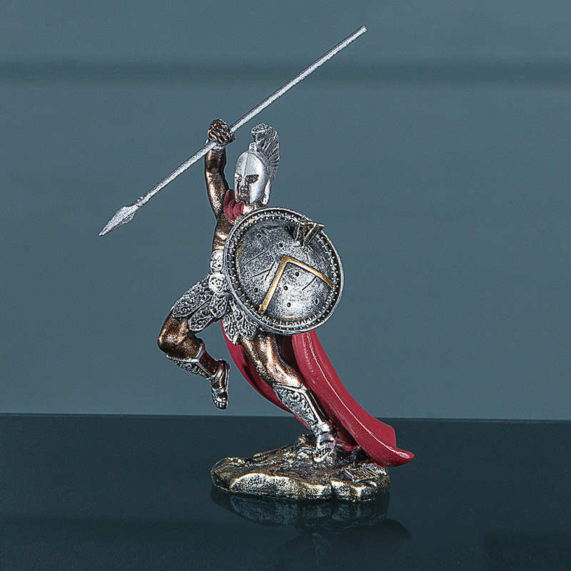 Hero of Sparta Statues Car Decor Retro Horse and Spartan Warrior Miniatures Home Decoration Accessories for Living Room in Figurines Miniatures from Home Garden