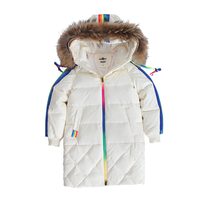 6f3345b8c Girls Down Jacket For Boys Coat Fashion Rainbow Children Outerwear Winter  Snow Wear Thicken Hooded Coat With Faux Fur Collar-in Down & Parkas from  Mother ...