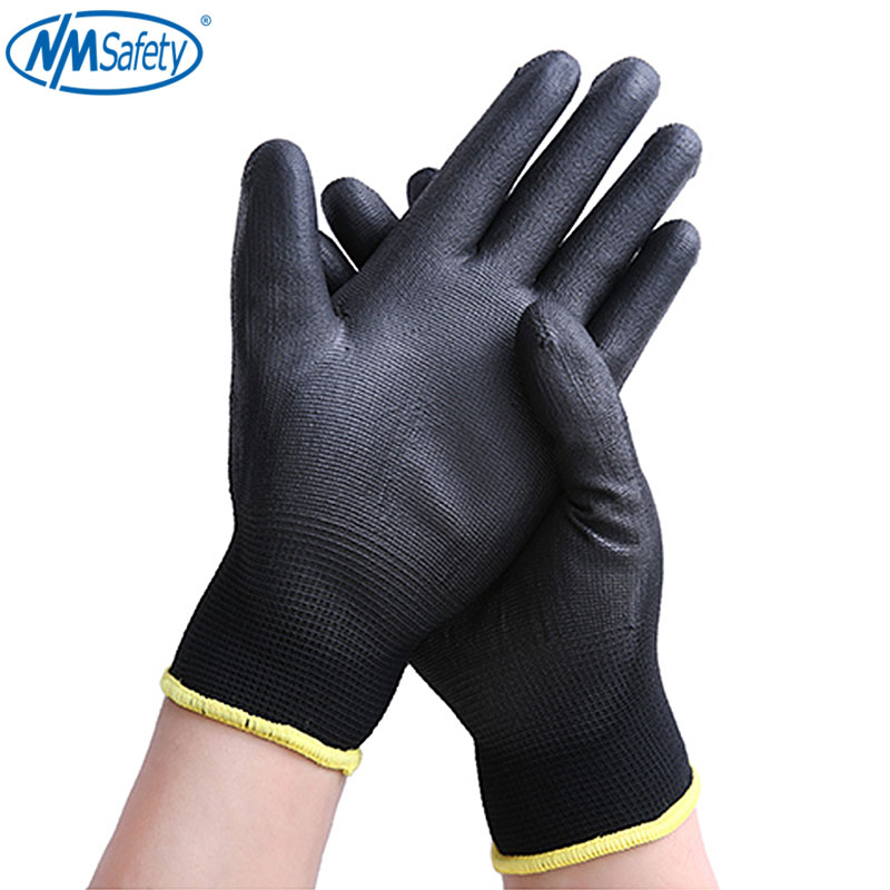 NMSafety 2/12 Pairs Black Nylon & PU Palm Coated Electronic Anti-static Gloves With PU AntiStatic Work Glove
