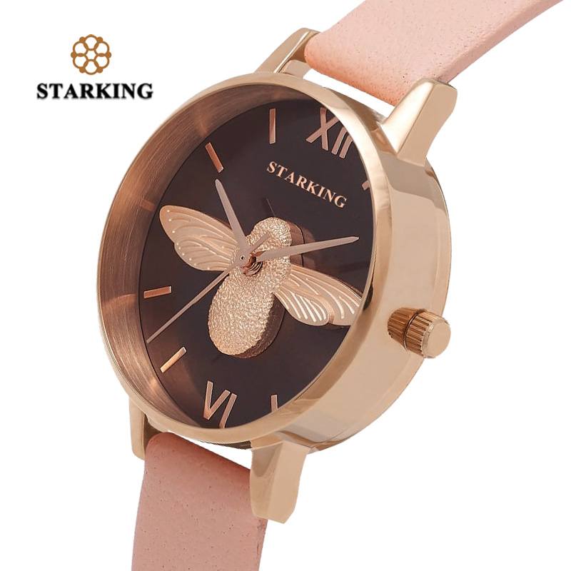 STARKING 2018 New Design Women Watch Bracelet Watch Ladies Retro Creative Bee Watch Fashion Quartz Waterproof Montre Femmme