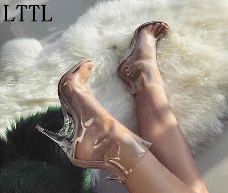 ФОТО Real Photo! 2017 LTTL Brand New Arrival Strange Heel Clear Ankle Boots Transparent Heel Women Sandals Peep Toe Celebrity Shoes