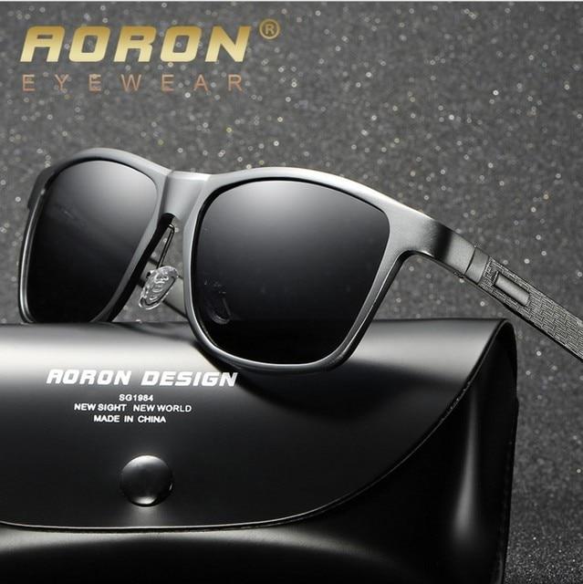 2c03d9b7b1 AORON Aluminum Magnesium Polarized Sunglasses Rectangle Shades Men s  Driving Glasses Sports Protective Eyewear Male with Box