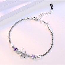 TJP Trendy Purple Cubic Zirconia Women Bracelets Anklets Fashion Girl 925 Silver For Bride Wedding Party Star Bijou