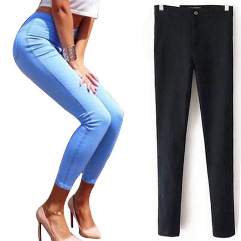 2017 Black Women's High Waist Skinny Jeans High Stretch Long Pencil Pant Stretchy Denim Trouser Pantalones Vaqueros Jeans Woman