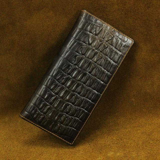 Brand genuine leather exquisite long Wallet Bifold  Men Aligator business pattern Monederos Hombre carteira Clutch Bag Card Case