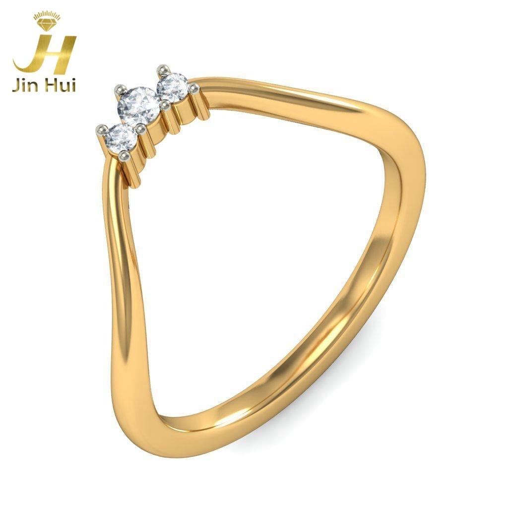 Jinhui Women The Renata Ring Solid 18K Yellow 750 Gold 0.062CT Natural Diamond  Jewelry  Free Engraving