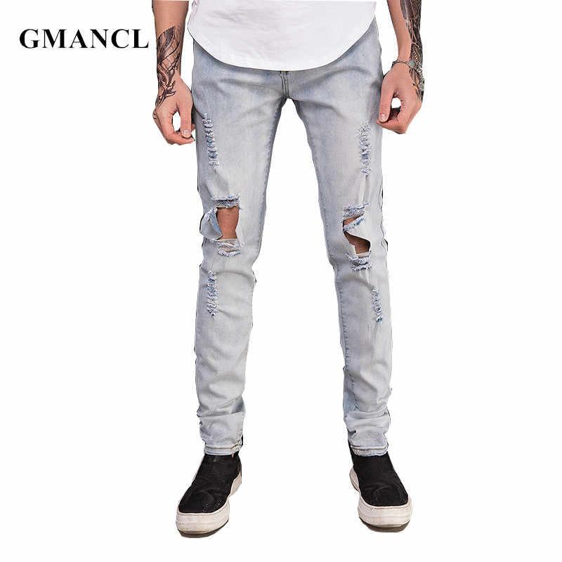 GMANCL Skinny déchiré Jeans hommes Streetwear Hip hop swag genou grand trou mode Joggers haute qualité en détresse Denim pantalon