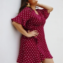 Laamei Women 4XL Plus Size Dress Summer Polka Dot Print Large Size Female Dresses Short Sleeve  Sexy Boho Vestido Robe Femme