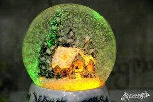 Image 2 - Christmas Snow Globe Snow HouseคริสตัลบอลหมุนไฟควบคุมเสียงเพลงBoxปราสาทในSkyของขวัญวันเกิดสำหรับแฟน