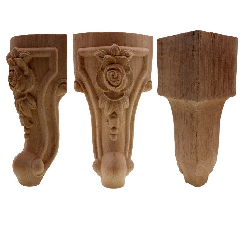 Ножки для мебели, Цветочная деревянная искусственная поверхность, угловая аппликация, рамка для мебели, резьба по дереву, декоративные деревянные фигурки, поделки для дома
