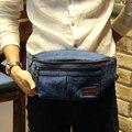 Novo Design Azul dos homens de Lona Saco Do Mensageiro Ocasional Pacote de Cintura pacotes de Peito de Um Ombro saco de Viagem de Lazer Com Zíper Hip Estilingue sacos