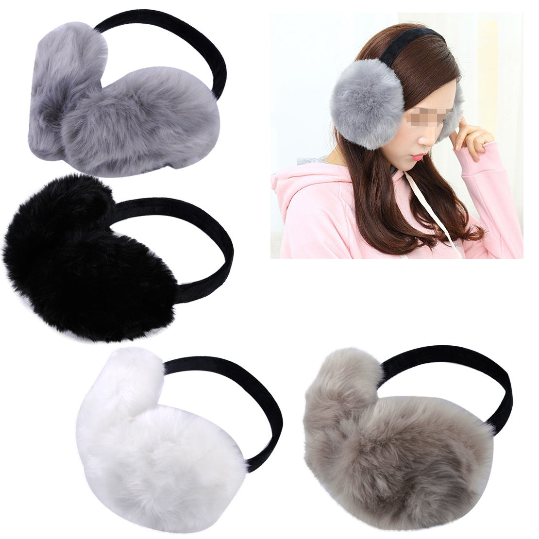 Women Winter Earmuff Genuine Farm Imitation Rabbit Fur Earmuffs Ear Cover Warmer Ear Muff Earlap Headband