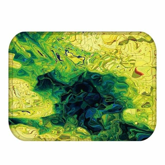TCMD Abstracto de Colores Verde Amarillo Mezclado Impreso Tapetes ...