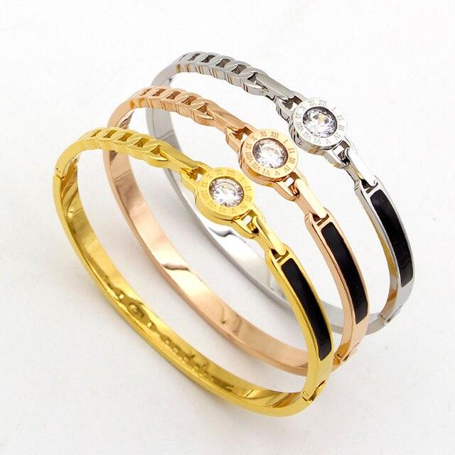 089d475c3df94 Bracelet en acier inoxydable CZ cristal marque de luxe bijoux en chiffre  romain Bracelet manchette pour
