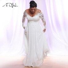 988bb837e ADLN Blanco Marfil De gasa De manga larga vestidos De Novia más el tamaño  profundo De cuello en V apliques playa vestidos De .