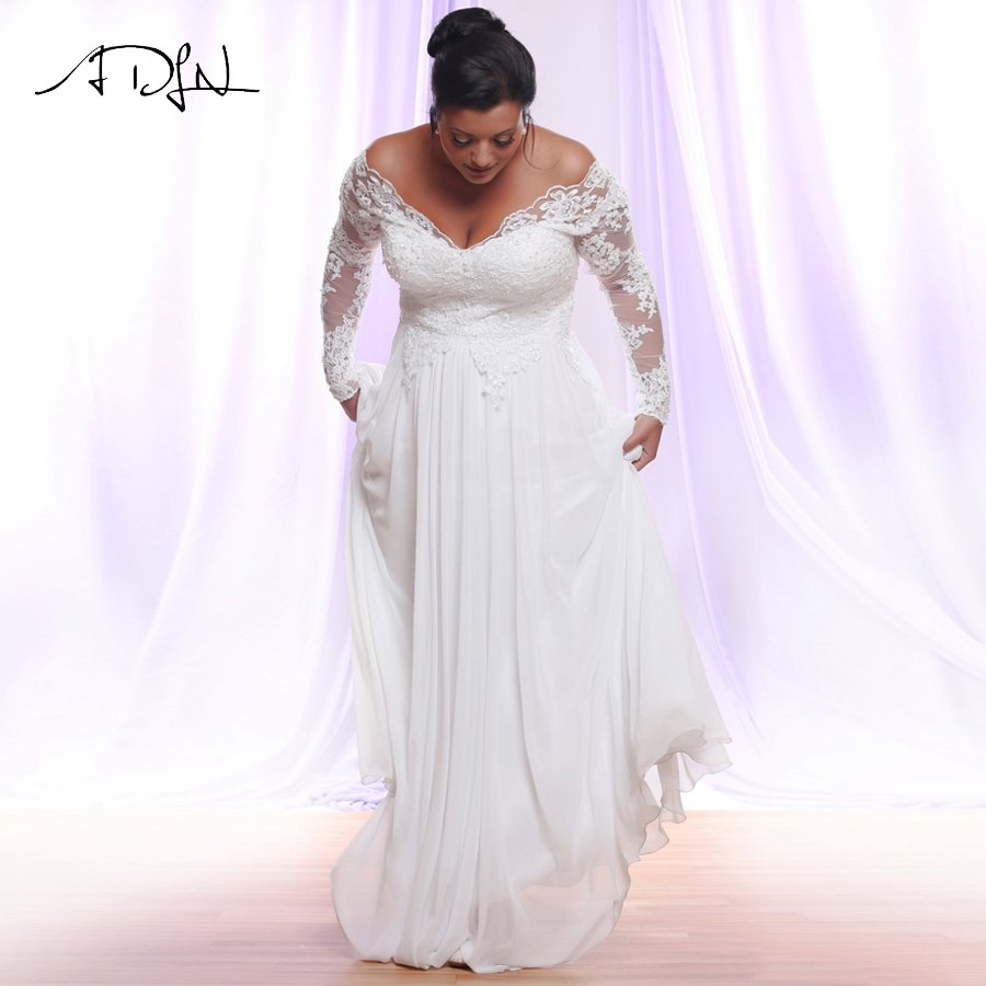 Jiayigong White/Ivory Long Sleeves Chiffon Wedding Dresses Plus Size Deep V-neck Applique Beach Wedding Gowns Vestido De Novia