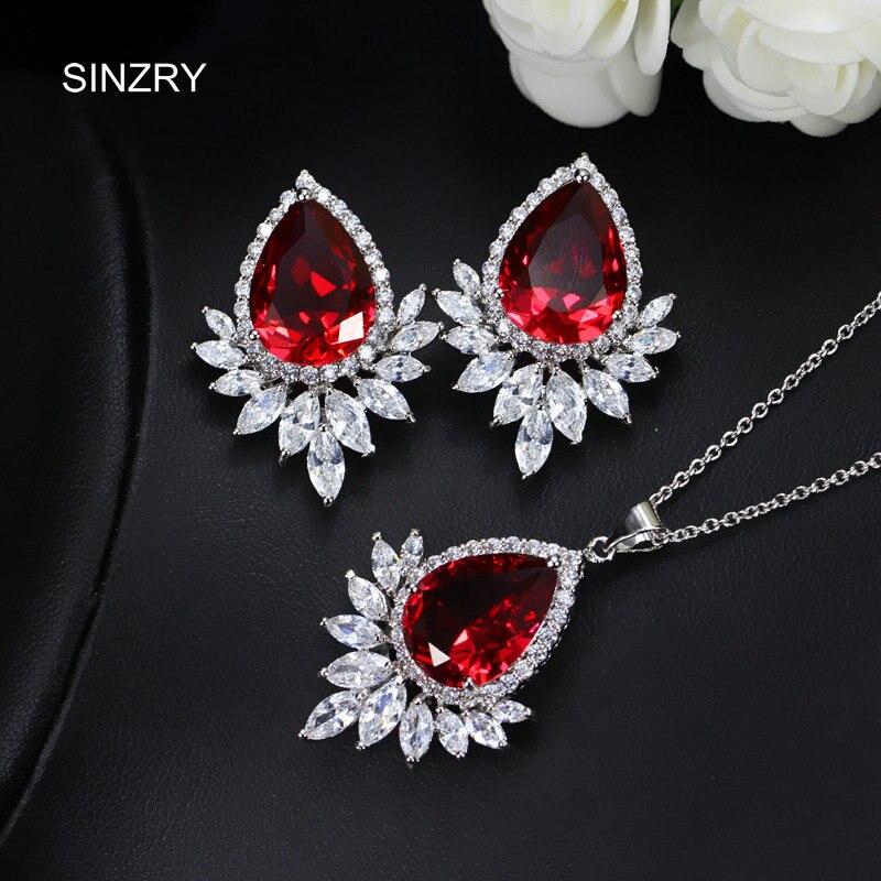 e838d240ad04 Sinzry nueva moda AAA grado cubic zirconia piedra CZ vintage elegante  pendiente collar conjuntos de joyería de compromiso